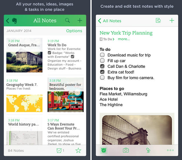 Evernote iPhone App for Designers