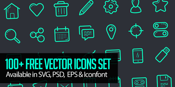 Vector Icon Set – 100+ Icons Free Download