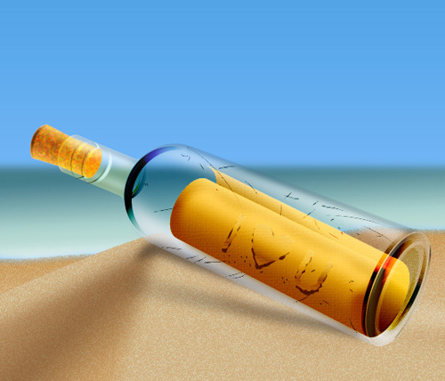 How to Create a Message in a Bottle in Illustrator Tutorial