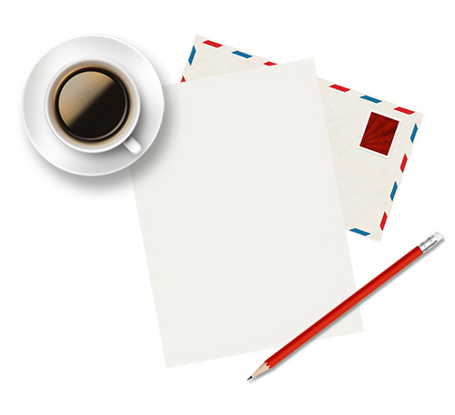 Cup of coffee and paper (PSD)