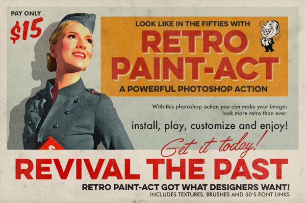 Retro Paint-Act – PS Action + Kit