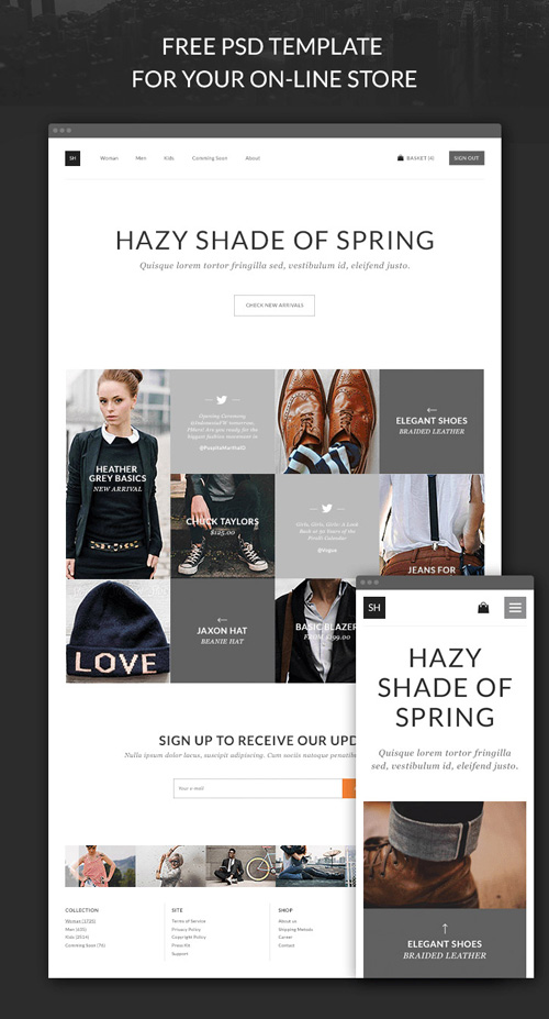 ECommerce Website And Store App PSD