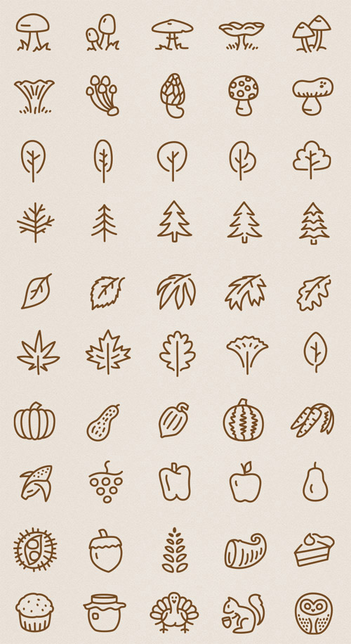 50 Autumn Vector Icons