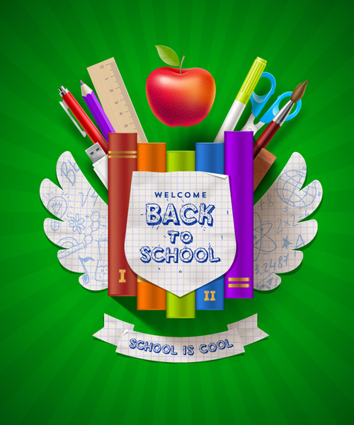 Wings Design Back to School Vector