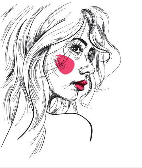 Girl Sketch Vector Graphic