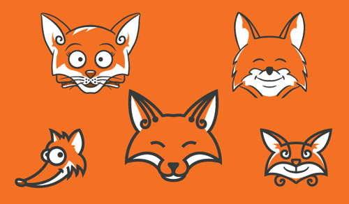 Vector Fox Heads