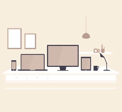 Flat Devices in Office Illustration