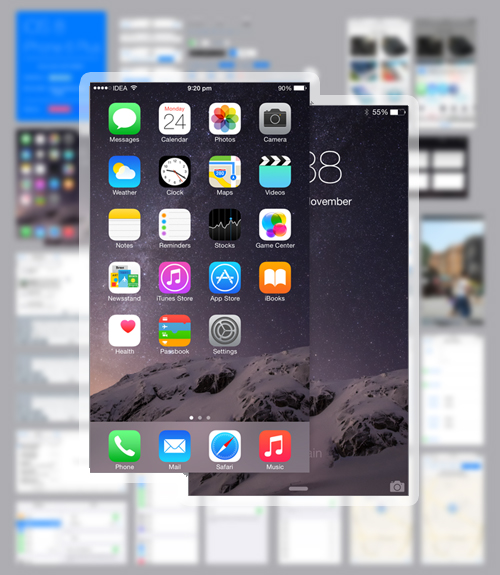 Free iOS 8 iPhone 6 Plus GUI PSD