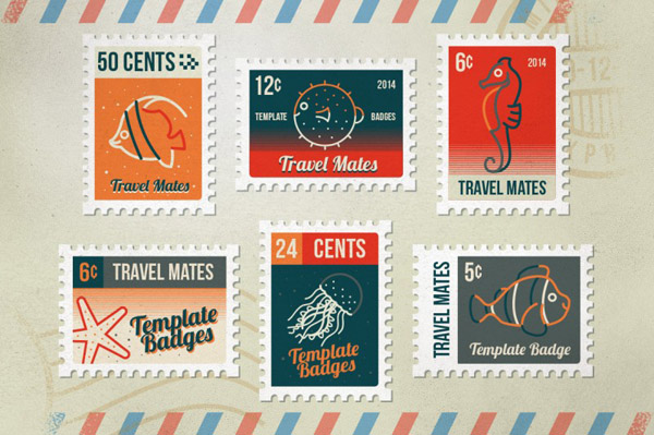 Vector file postage stamp badges