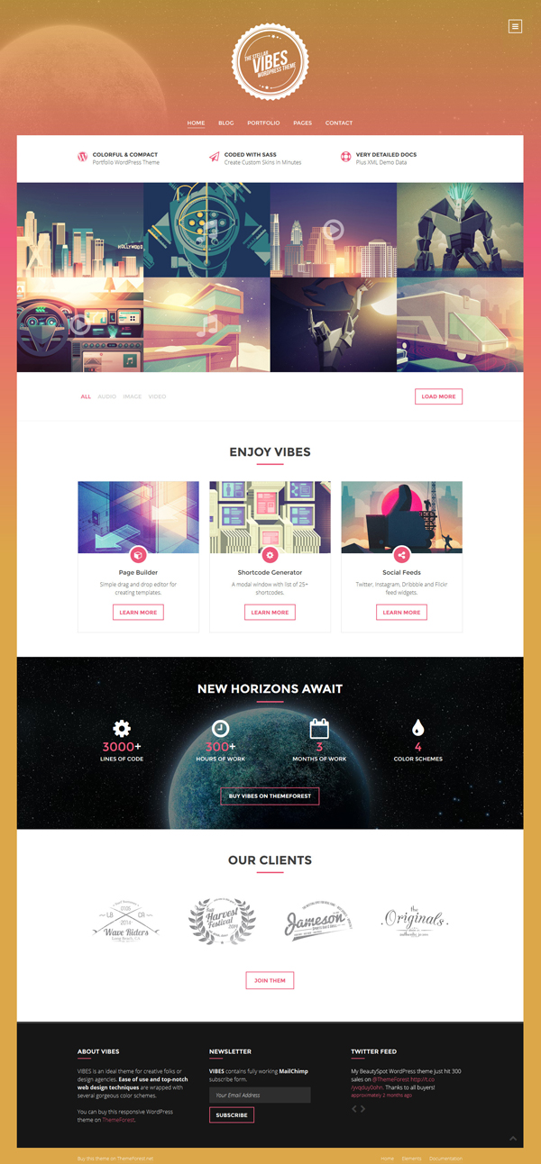 Vibes - Colorful Compact Portfolio WordPress Theme