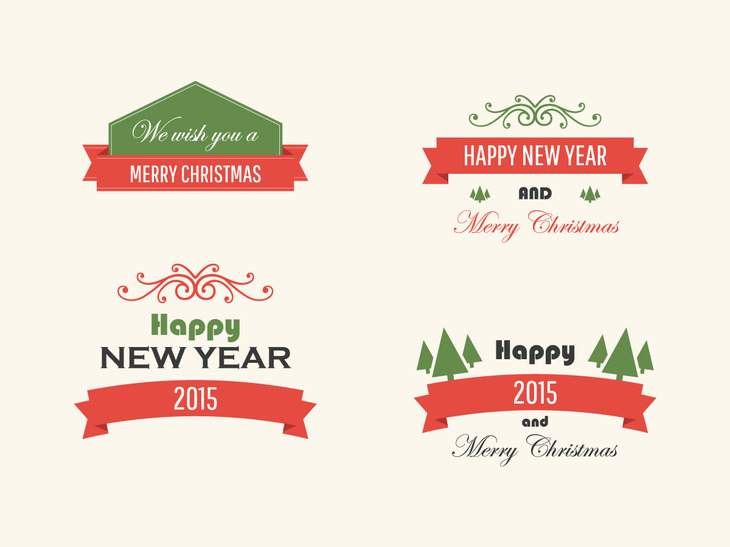 Vintage Vector Christmas Badges