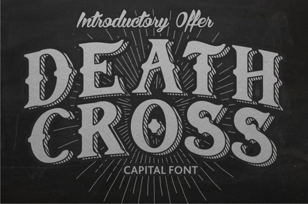 Vintage style custom font with uppercase letters and shadow effect.