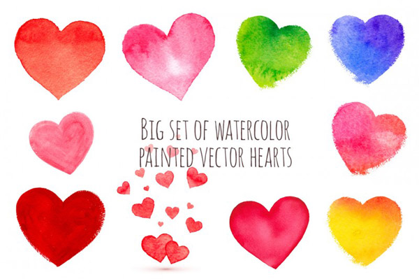 watercolor painted vector hearts