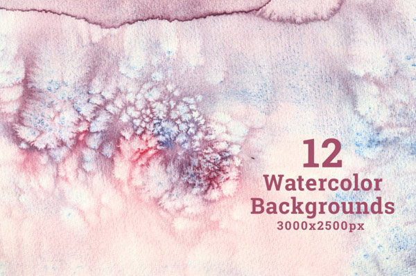 Set of 12 Watercolor Backgrounds