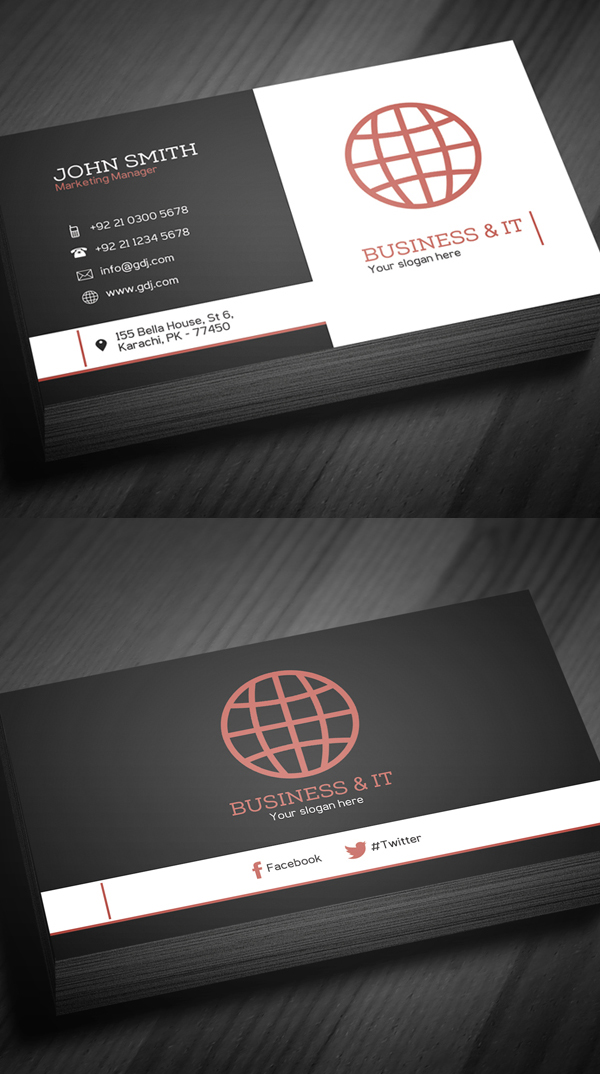 Free business cards psd templates print ready design freebies free corporate business card template wajeb