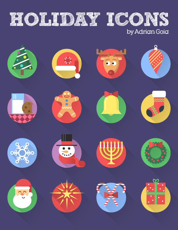 Free Holiday Icon Set Flat + Long Shadow (16 Icons)