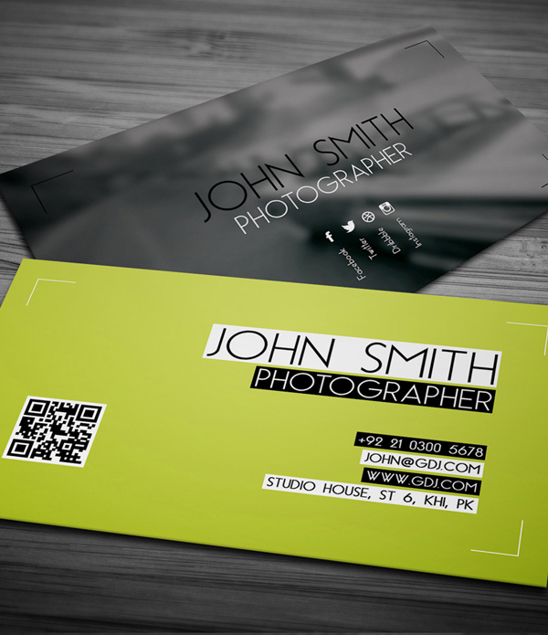 Free business cards psd templates print ready design freebies free photographer business card psd template reheart Choice Image