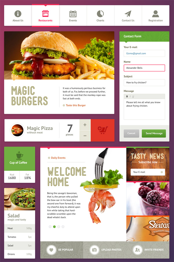 Restaurant UI Kit (.sketch freebie)