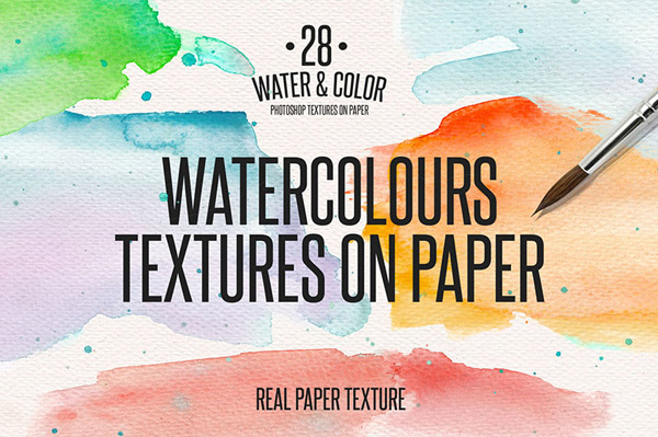 28 Water & Color Textures on Paper