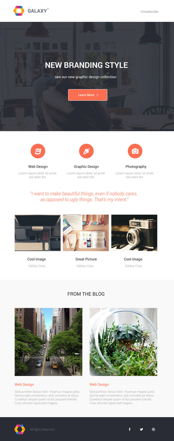 Galaxy - Beautiful Newsletter PSD Template
