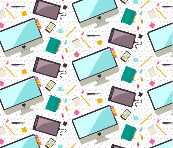 Seamless Pattern of Flat Desk Icons