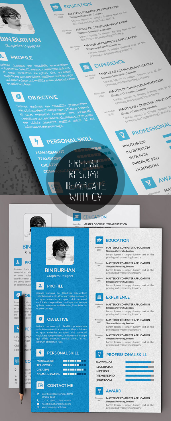 Beautiful Resume Template (PSD) With CV  Resume Template Free