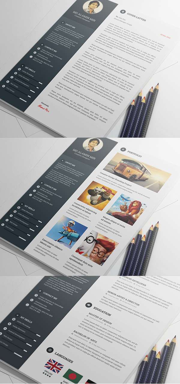 free creative resume template psd - Awesome Resume Templates Free