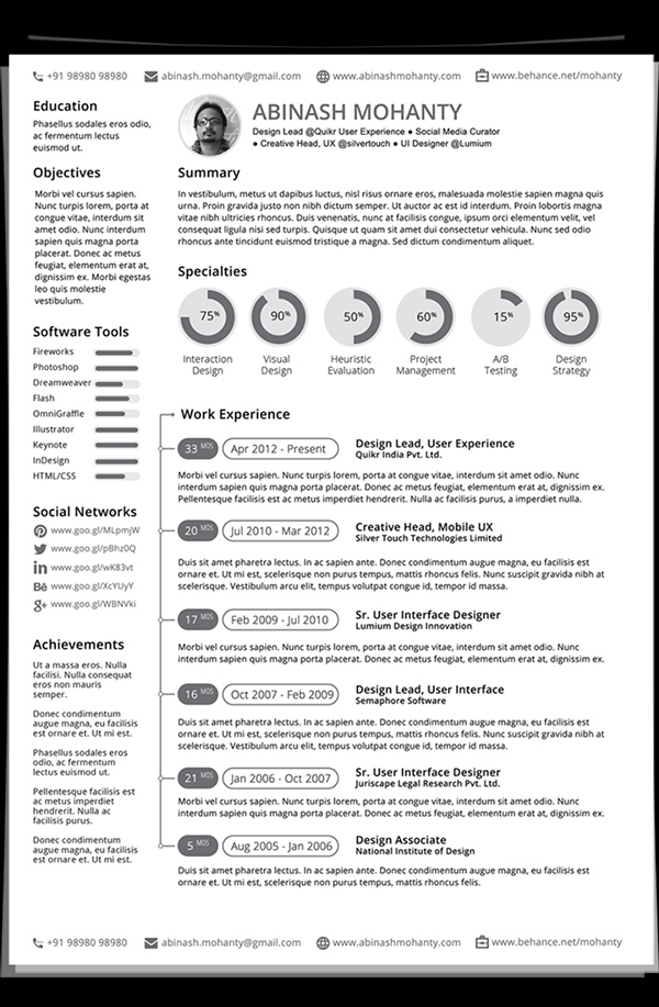 free minimal resumecv template - Graphic Resume Templates
