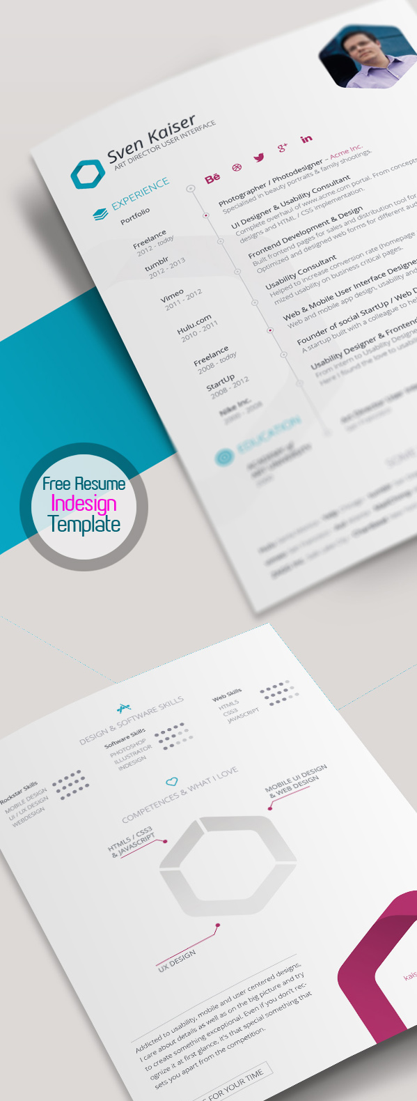 Free Resume Template For InDesign (Vita / CV)  Resume Template Free