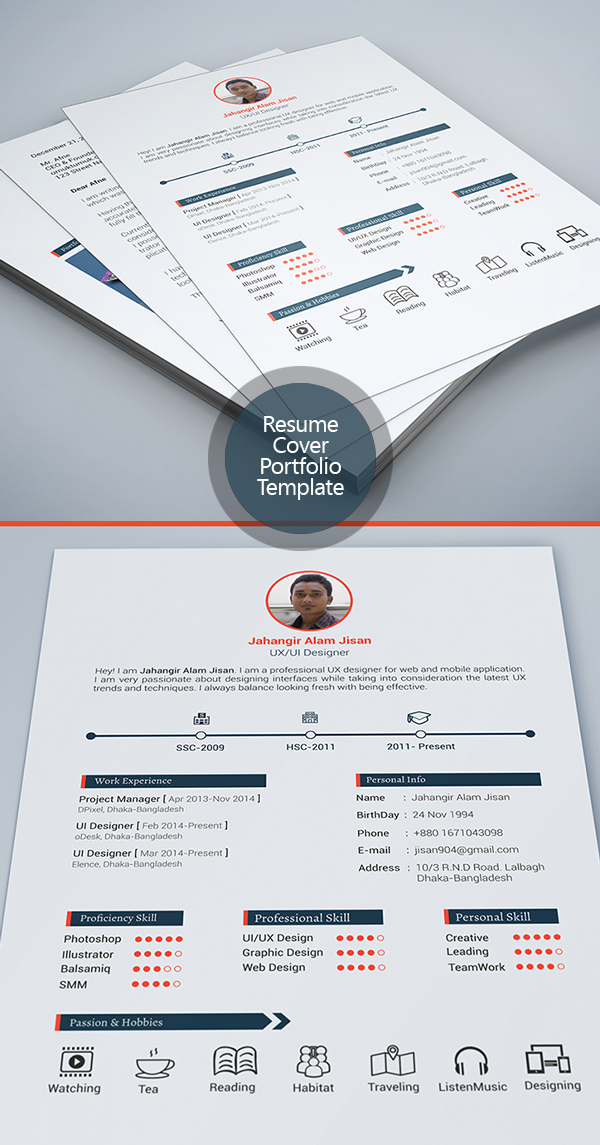 Free Resume Template with Cover Letter & Portfolio