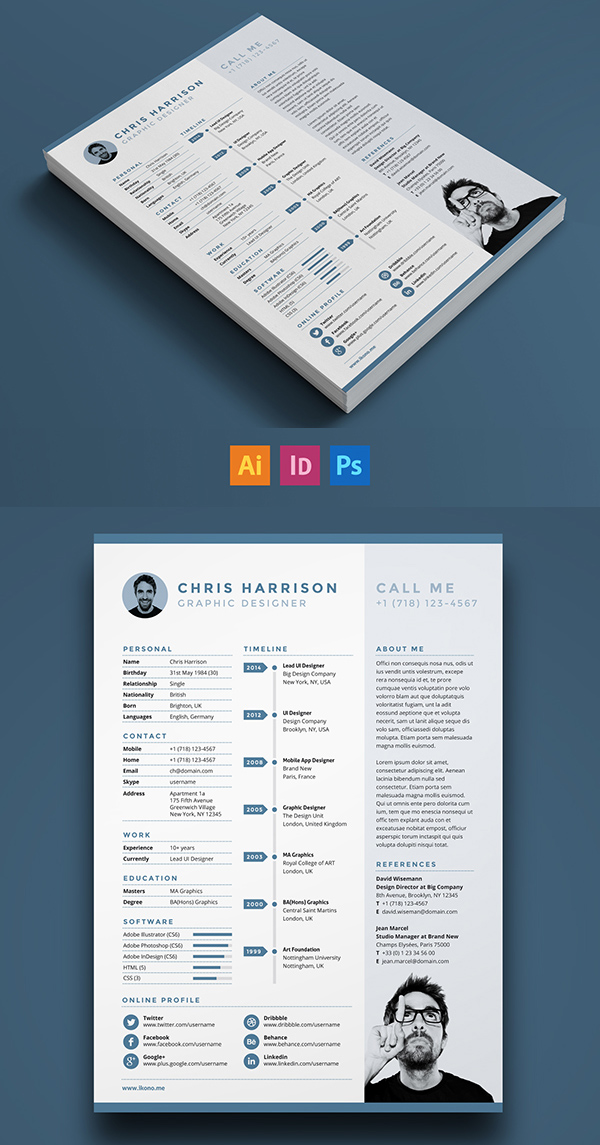 free single page resume template psd - Resume Templates Graphic Design Free