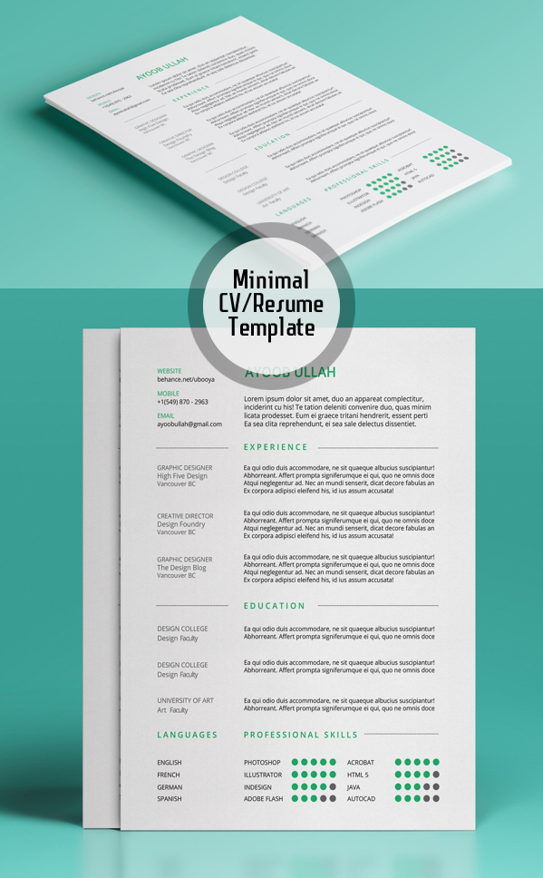 Minimal Resume Template  Psd Resume Template