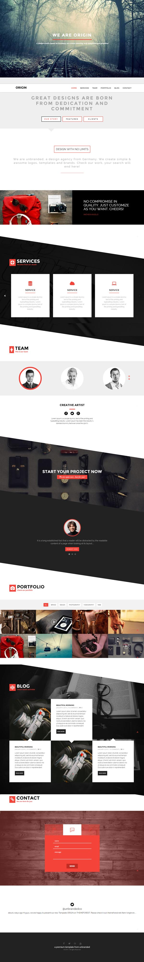 Origin-Creative One page HTML5 Template
