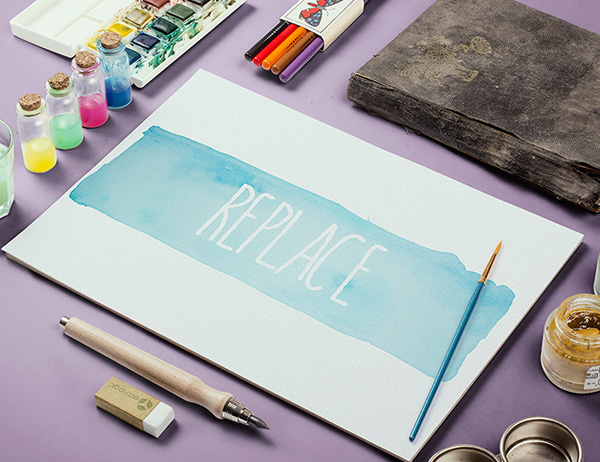 Watercolor Sketch MockUp for Presentation