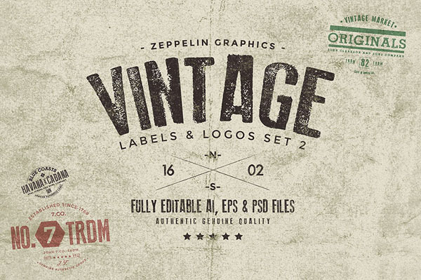 Vintage Badges & Labels Set