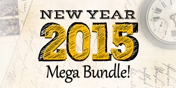 New Year 2015 Mega Bundle (Mock-up, Fonts and Vectors)