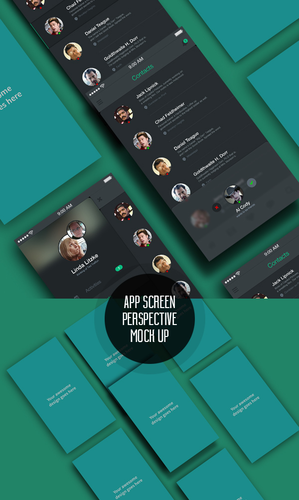 Free App Screens Perspective MockUp PSD