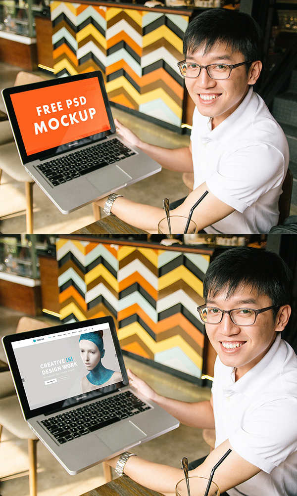 Hands on Laptop Macbook Pro PSD Mockups