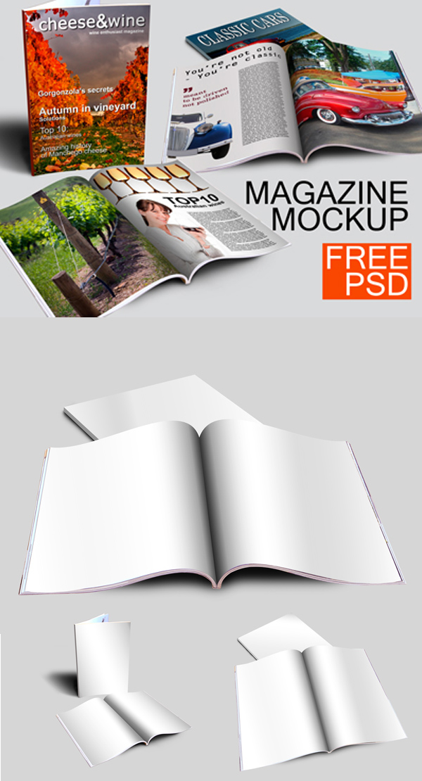 Free Magazine Mockups (Cover, Book, Magazine)
