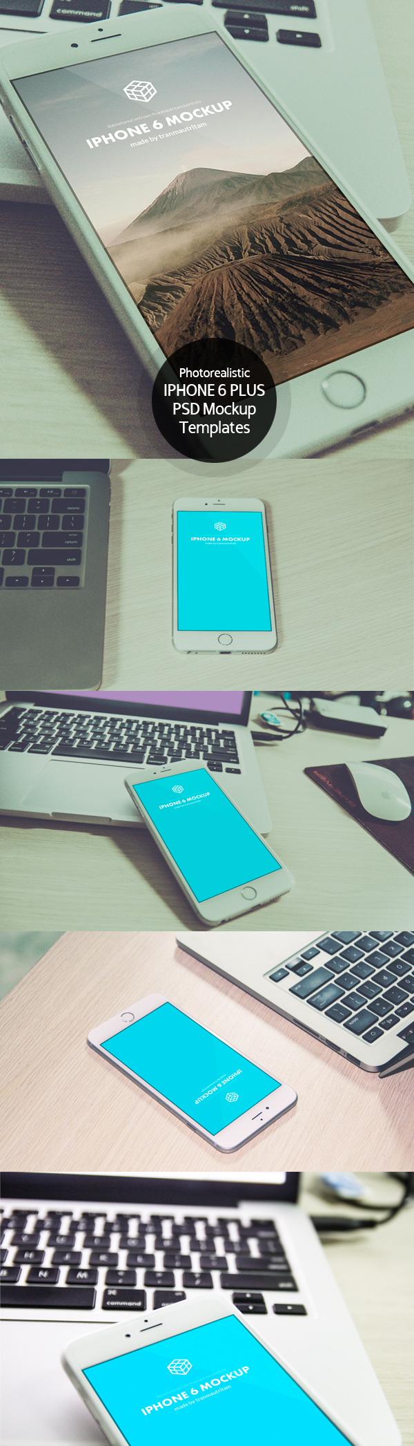 Free Photorealistic iPhone 6 Plus PSD Mockup Templates