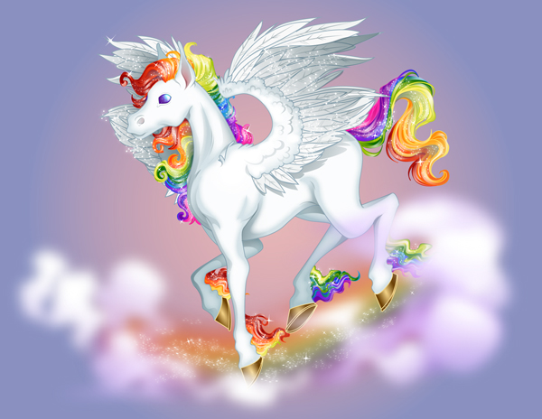 Create a Lisa Frank Inspired Colourful Pegasus in Adobe Illustrator