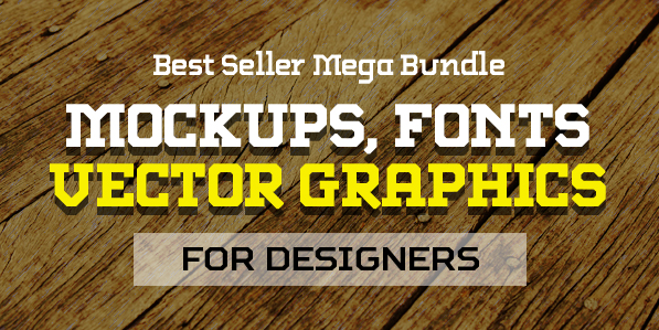 Best Mega Bundle with Presentation Mockups, Fonts and Vector Graphics