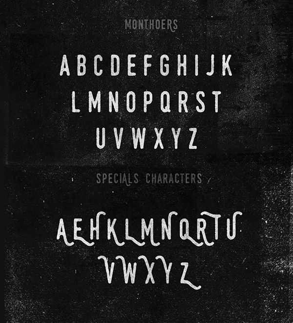 Monthoers rounded font letters and numbers