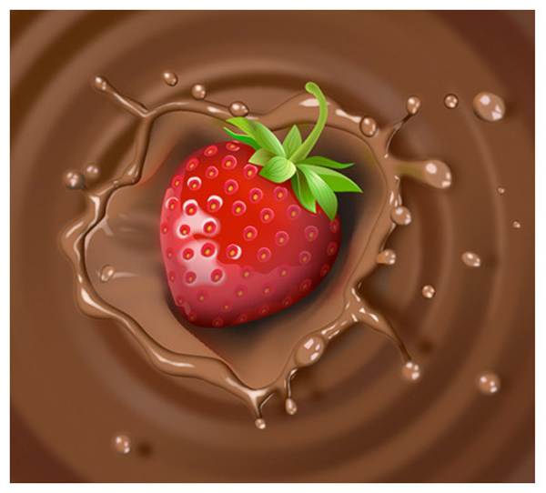 Create Strawberry & Chocolate Milk Splash Illustration in Adobe Illustator