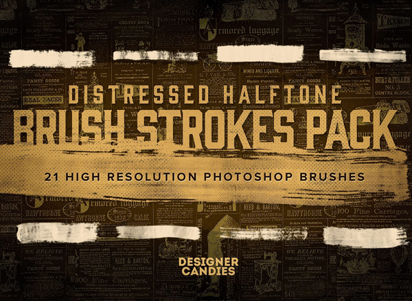 Distressed Halftone Brush Strokes