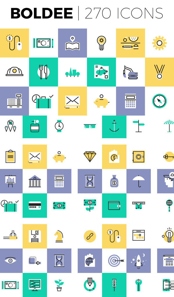Boldee Pictogram 270 Icons for Web and App UI