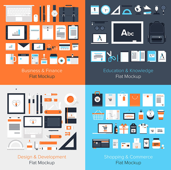 Flat vector mockup on business, education, design, development