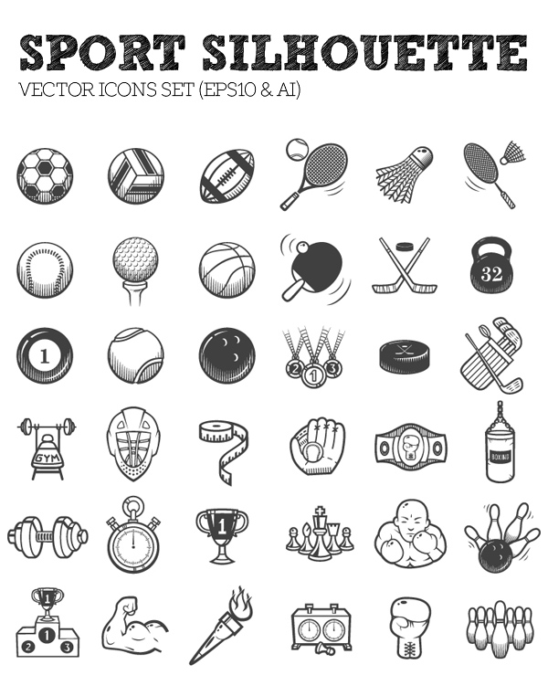 36 Vector Sport Silhouette Icons Set