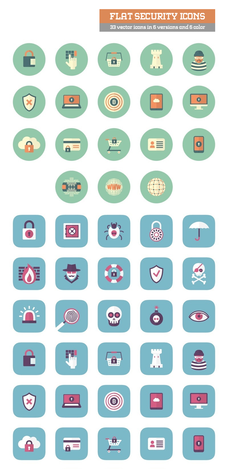 Flat Secutity 33 vector icons in 6 versions and 6 color