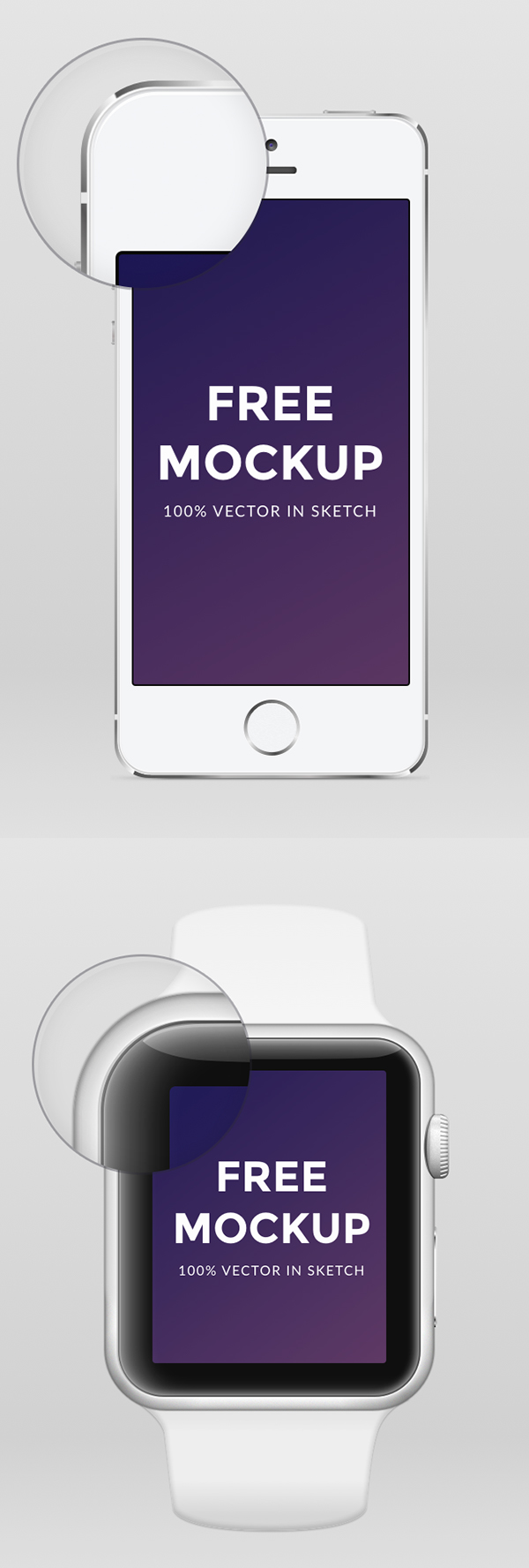 Free Apple Watch iPhone 6 & iPhone 5 .sketch Mockup